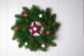 Christmas wreath with stars