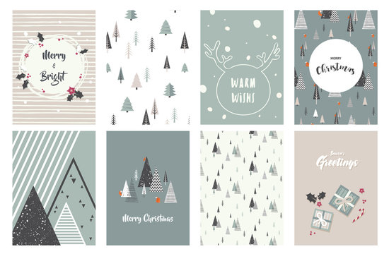 Merry Christmas cards, illustrations and icons, lettering design collection - no 1