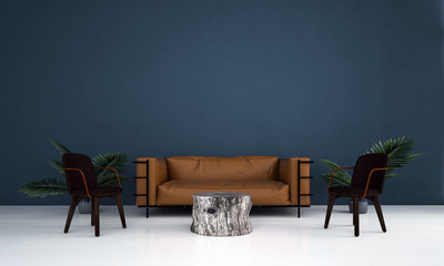 The modern lounge and living room and green blue texture background