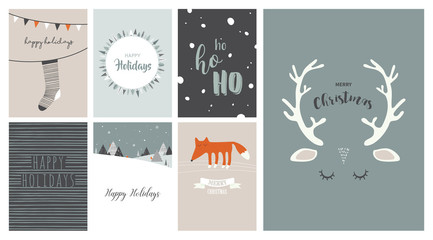 Merry Christmas cards, illustrations and icons, lettering design collection- no 3