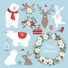Set of cute Christmas clip-arts with bunnies, reindeer, polar bears, winter flowers, Christmas wreath and balls. Scandinavian design. Isolated hand drawn vector objects.