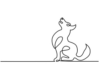 Continuous line drawing. Cute dog sitting. Vector illustration