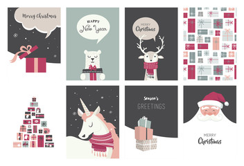 Merry Christmas cards, illustrations and icons, lettering design collection - no 8