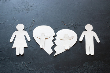 paper family and children on a broken heart concept divorce