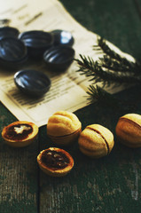 Homemade sweets with caramel and nuts for Christmas