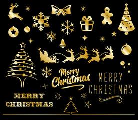 Christmas icons gold set