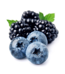 Ripe blackberries and blueberries.