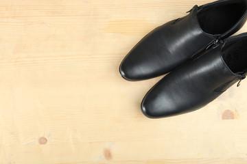 Black leather men's shoes