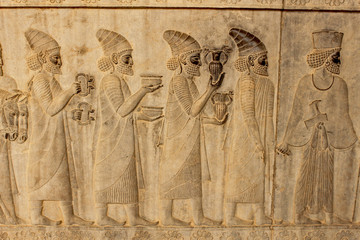 Fotobehang Artistiek mon. Relief on a wall of the ancient city Persepolis