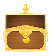 vintage wooden chest with stock vector illustration