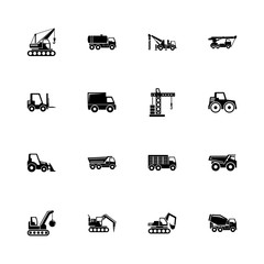 Construction Vehicles - Expand to any size - Change to any colour. Flat Vector Icons - Black Illustration on White Background.