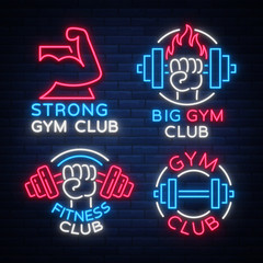 Set of logo signs on fitness theme, bodybuilding in neon style isolated, vector illustration. Glowing banner, a bright neon sign, a night advertisement of a fitness club, a sports hall, a sports club