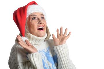 senior woman in Santa hat