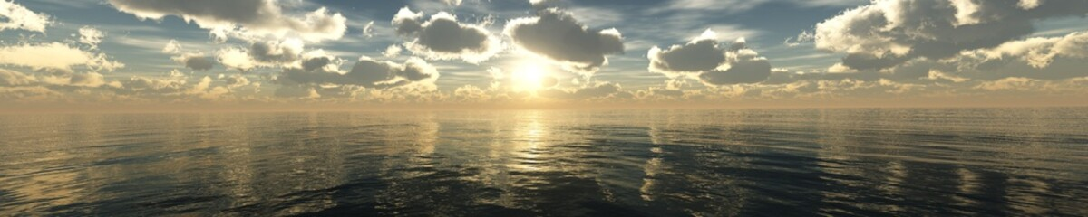 sea sunset, panorama of clouds over the sea during sunset, 3d rendering