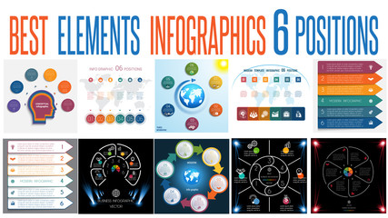 Set 10 universal templates elements Infographics for 6 positions