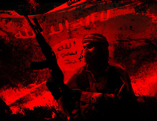 Silhouette of islamic soldier with rifle