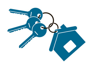 three keys from the apartment with a keychain in the form of a house