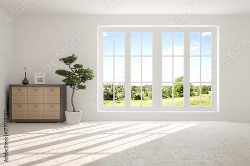 . White empty room with summer landscape in window  Scandinavian