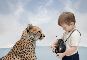 young photographer and big cat