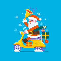 Happy smile Santa Claus riding scooter motorcycles to send gifts.Vector flat style illustration