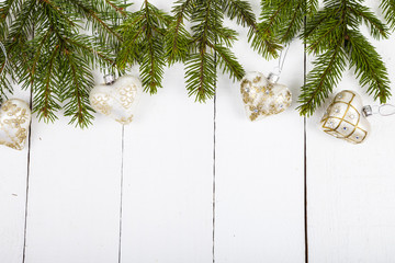 Christmas balls  and spruce branches