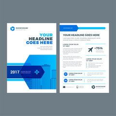 Blue brochure annual report flyer design template
