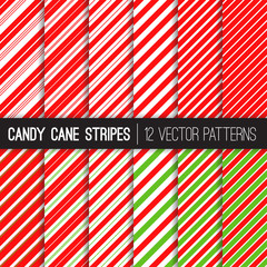 Candy Cane Stripes Vector Patterns in Red, White and Lime Green. Popular Christmas Background. Variable thickness diagonal lines. Pattern Tile Swatches Included.