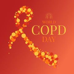 World COPD day poster with an orange ribbon made of dots and lungs symbol on red background. Chronic obstructive pulmonary disease awareness month. Medical concept. Vector illustration.