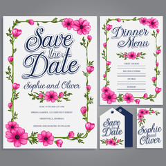Greeting card with flowers, watercolor, can be used as invitation card for wedding, birthday and other holiday and summer background. Vector illustration.