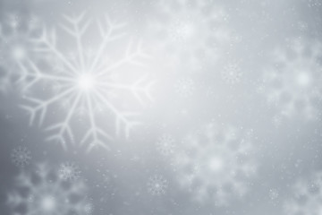 Fantasy bright silver blurred snowflakes illustration copy space background.