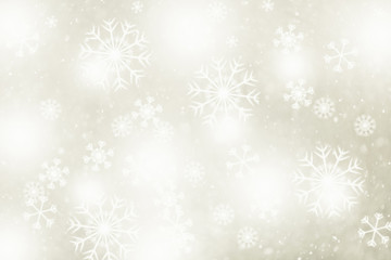 Fantasy bright golden blurred snowflakes illustration copy space background.
