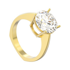 3D illustration isolated yellow gold engagement euro style ring with diamond