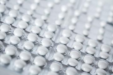 White pills close-up.