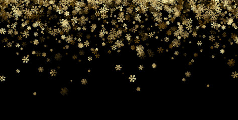 Black winter background with golden snowflakes.