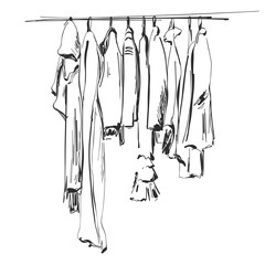 Hand drawn wardrobe sketch. Clothes on the hunger