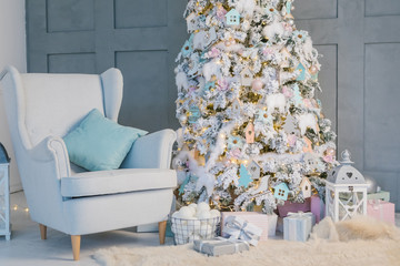 New Year mood living room with chair and amazing Christmas tree