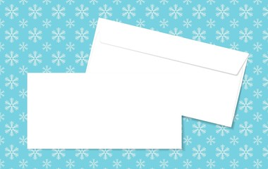 Template blank vector envelopes on Christmas background with snowflakes. Blank white envelopes on a blue background. Perfect for your text and messages.