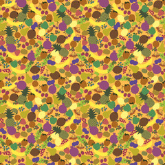 Seamless Pattern Fruits Nice Bright Color