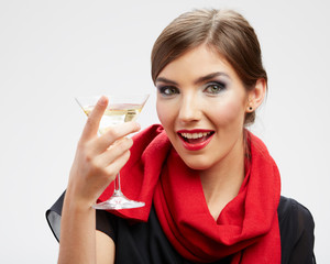 Portrait of beautiful woman with cocktail glass.