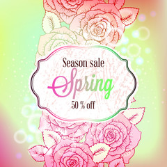 Spring Sale season banner or flyer with colorful rose flowers, Leaves and bokeh, with soft pastel background for Spring Seasonal Promotion or decoration.