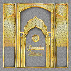 Ramadan Kareem greeting card with traditional islamic pattern, invitation or brochure in eastern style.Arabic circle and stars golden pattern.Gold ornament with shiny frames and mosque stylized doors.