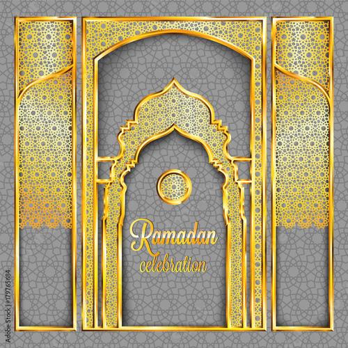 Ramadan Kareem greeting card with traditional islamic pattern