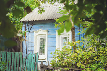 Beautiful old wooden house. Rustic retro house.