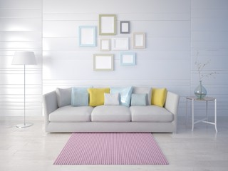 Mock up a stylish living room with a compact sofa and a trendy light background.