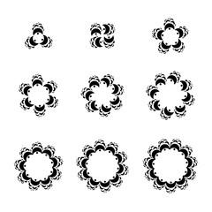 Abstract geometric logo template set. Vector circular ornamental symbols