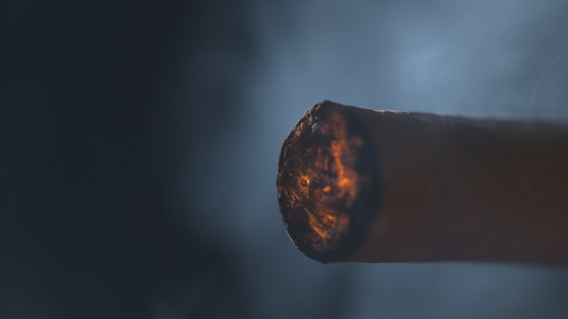 Burning end of a cigarette macro background 2