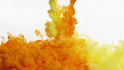 Yellow and orange ink/smoke mixing