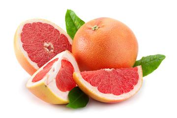 Orange grapefruit on white