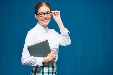 Accountant business woman wearing glasses portrait with book