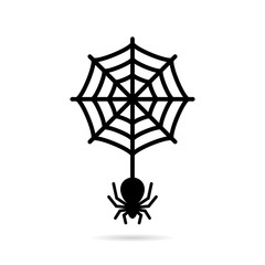 Wolf spider and circular spiderweb icon
